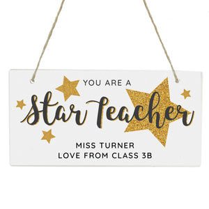 personalised 'star teacher' wooden sign