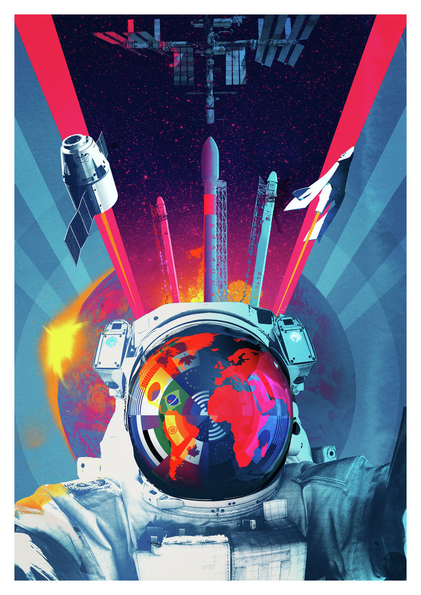 Final Frontier.  Astronaut, space traveller by Andy Potts. Digital Art Poster
