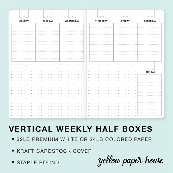 TRAVELERS NOTEBOOK INSERT - VERTICAL WEEKLY HALF BOXES CALENDAR - UNDATED