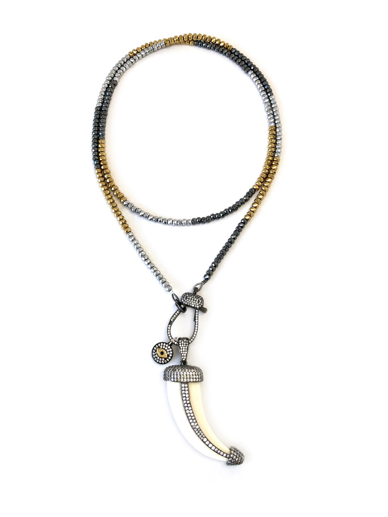 Hanging Horn & Charms with Pave Clasp on Long Hematite Necklace