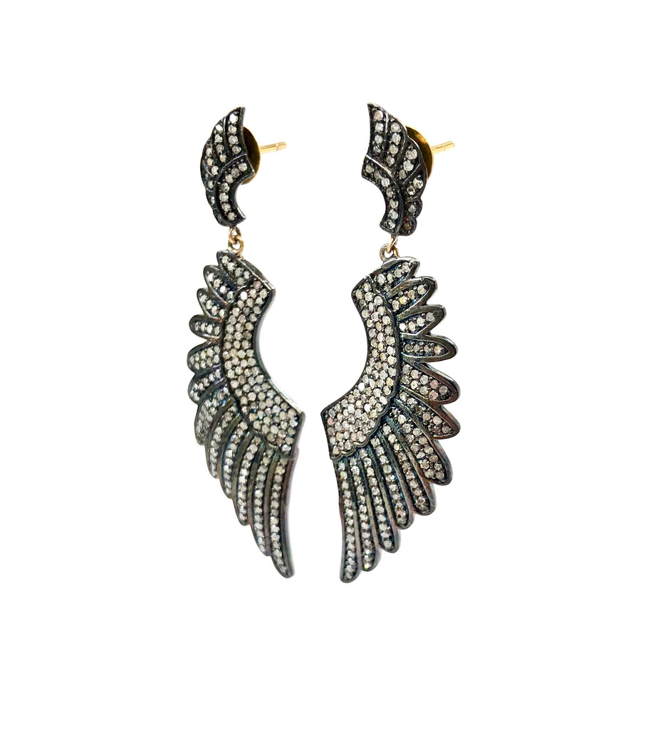 Diamond Encrusted Large Angel Wing Earrings with Mini Angel Wing Top