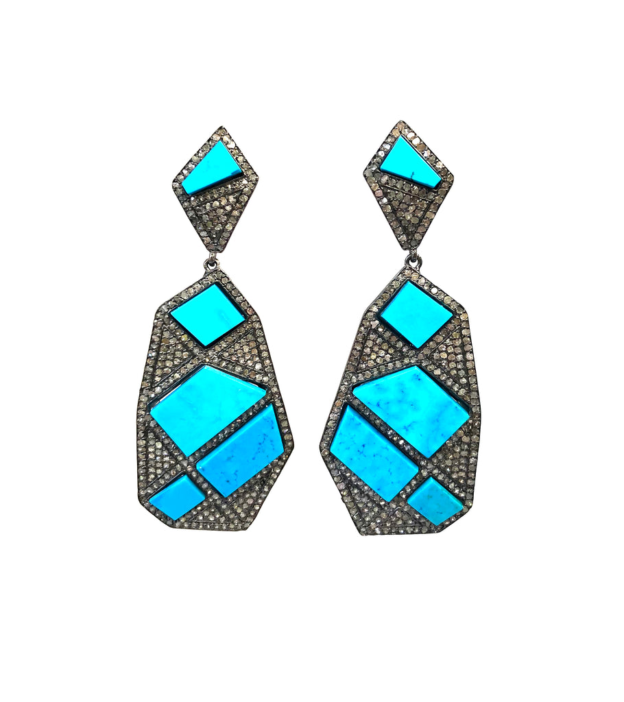 Diamond & Sleeping Beauty Turquoise Geometric Earrings