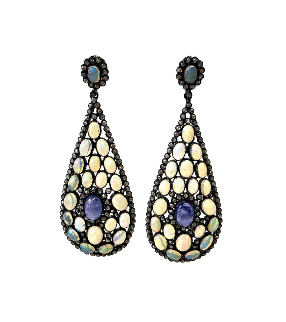 Ethiopian Opal, Tanzanite & Diamond Earrings