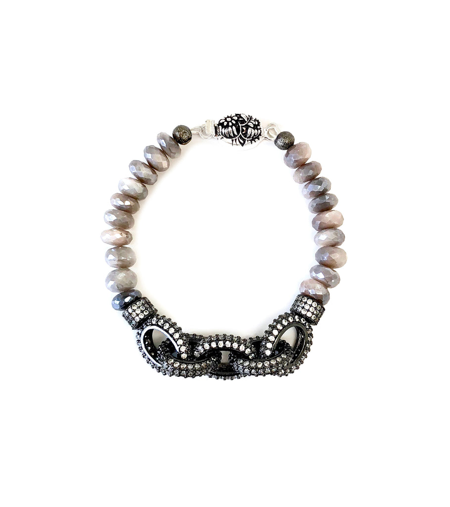 Grey Moonstone Chain Link Bracelet