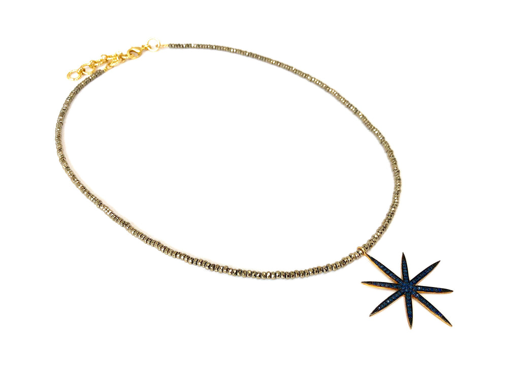 Large Sapphire 8-Point Star Pendant on Gold Hematite Necklace