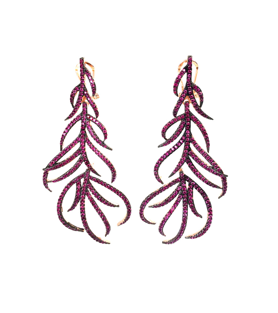 Large Pave Branch Earrings