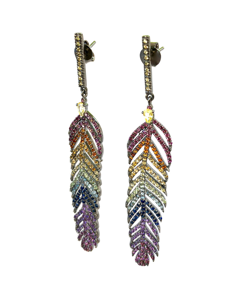 Rainbow Sapphire Feather Earrings
