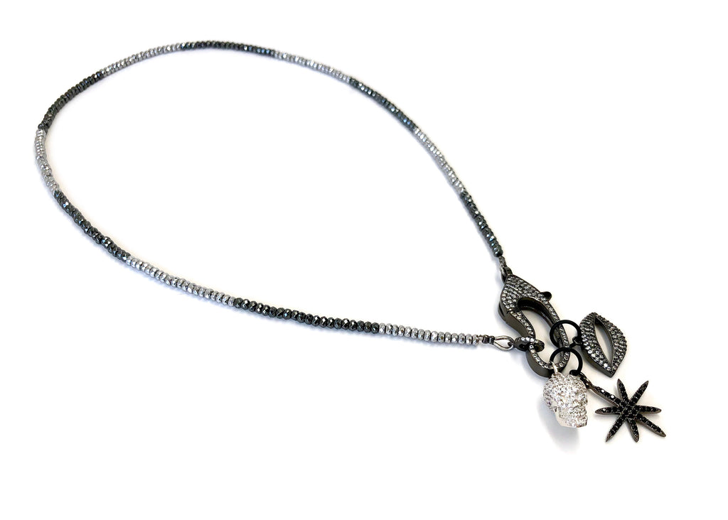 Hanging Charms & Pave Clasp on Hematite Necklace