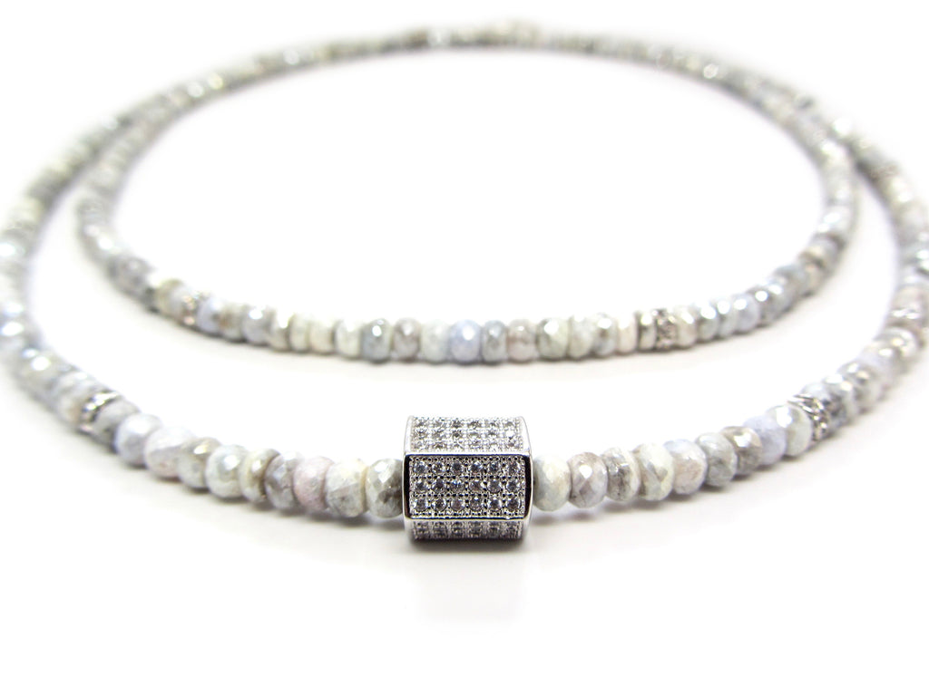 Silverite Necklace with Pave Cube Center