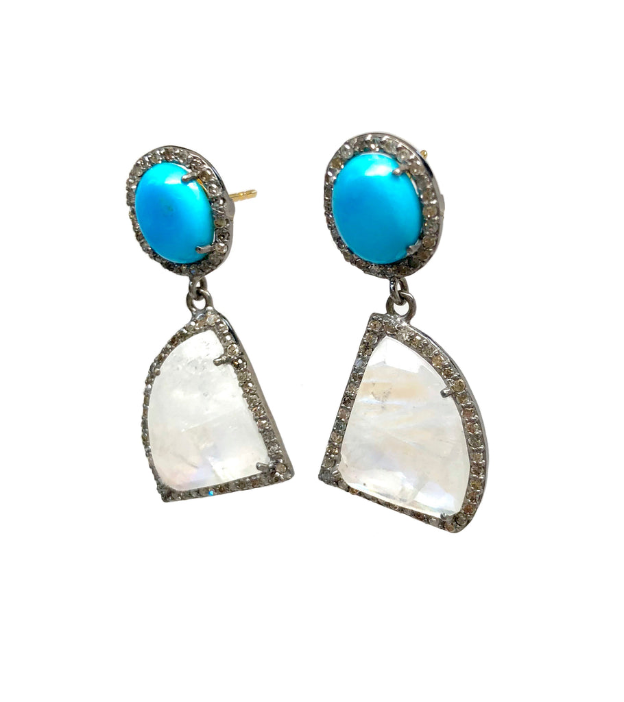 Sleeping Beauty Turquoise, Moonstone and Diamond Earrings