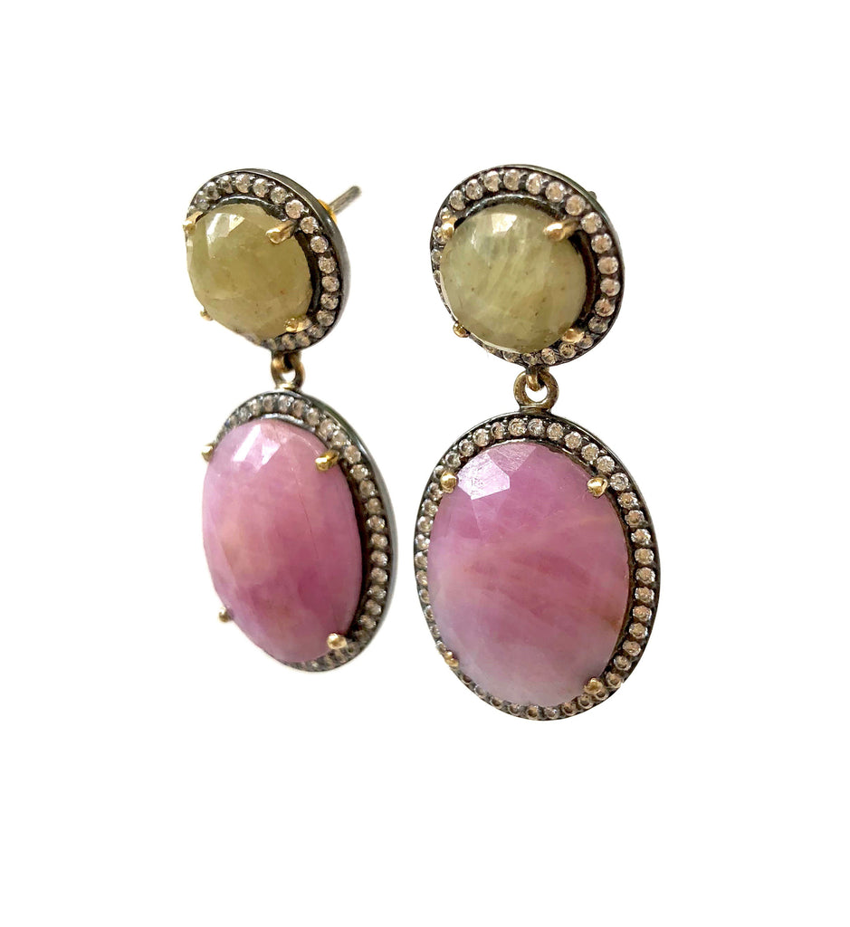 Pink & Yellow-Green Sapphire Earrings