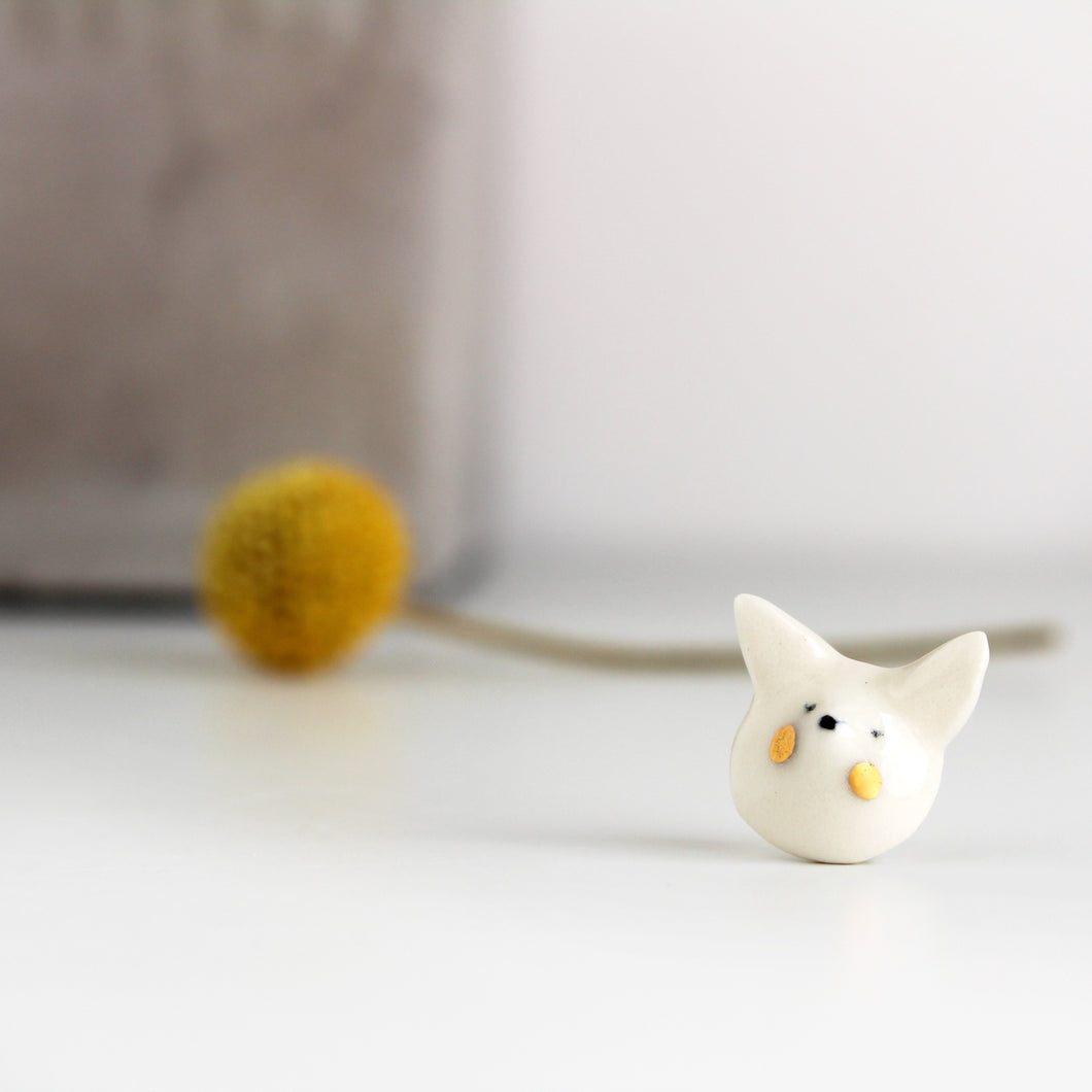 Mini Snow Fox Ceramic Pin