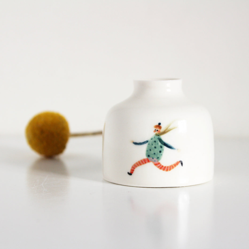Miniature Illustrated Ceramic Pot