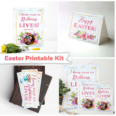 Easter Printable Kit | Easter Card, Easter Bookmark, Easter Printables | I Know That My Redeemer Lives Job 19 Printable | Easter Gift Ideas