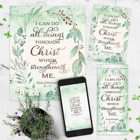 Philippians 4:13 Printable Kit | I Can Do All Things Printables Wallpaper Bookmark