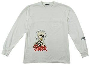 WHITE 'PATIENCE' LONG SLEEVE T SHIRT