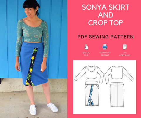 Sonya Skirt and Crop Top PDF Sewing Pattern