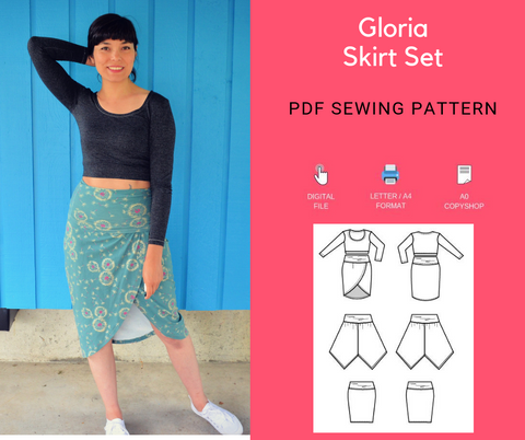 Gloria Skirt Set PDF sewing patterns and tutorial