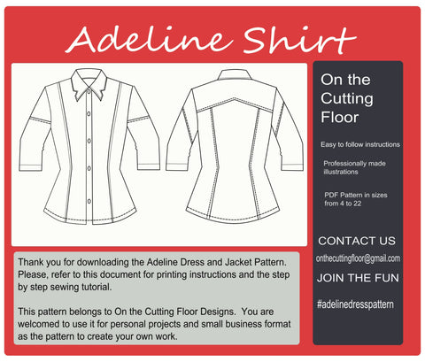 Adeline Shirt PDF Sewing pattern for women