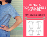 Renata Top and Dress PDF sewing pattern and tutorial