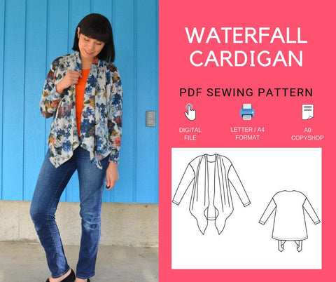 Waterfall Cardigan PDF sewing pattern and tutorial