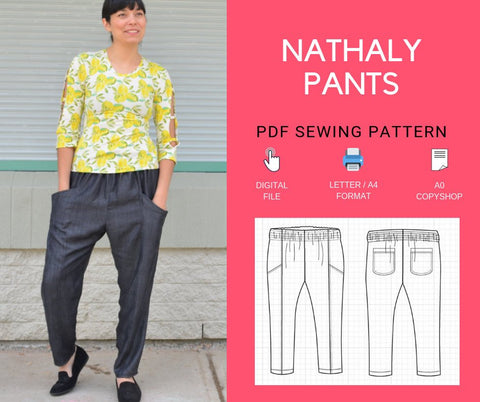 The Nathaly Pants PDF sewing patterns and sewing tutorial