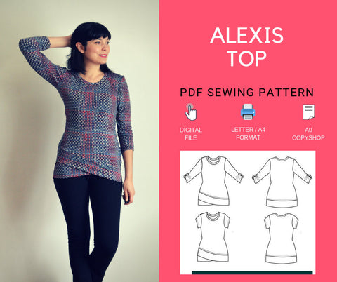 Alexis Top PDF sewing pattern and Sewing tutorial