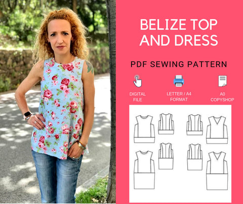 The Belize Loose Woven Top and Dress PDF sewing pattern and tutorial