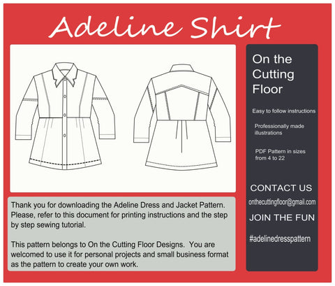 Adeline Shirt PDF Sewing pattern