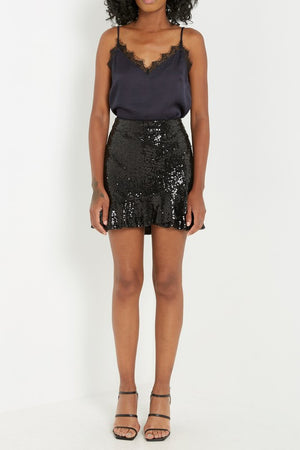 Black Sequin Wrap Skirt