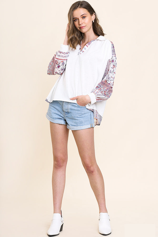 Ivory & Sheer Sleeve Collared Top