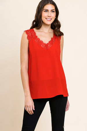 'Mary Kate' Red Lace Trim Top