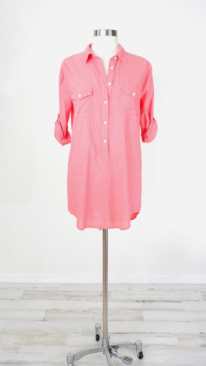 J.Crew Coral 1/4 Summer Tunic Top (S)