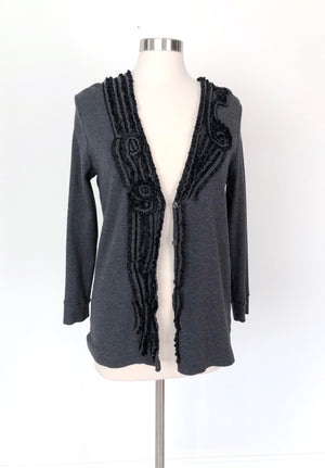 J.Crew Gray Ribbon Embroidered Cardigan (L)