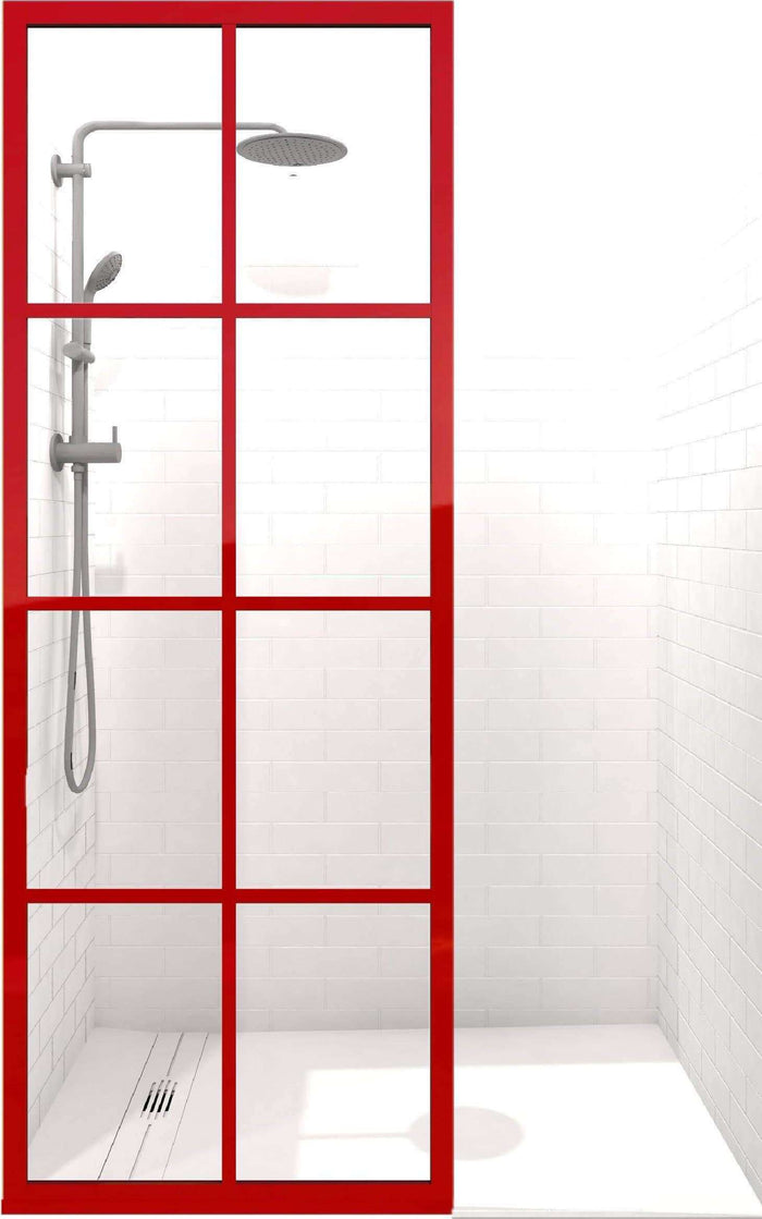 Coastal Shower Doors Gridscape GS1 Colorize Shower Screen in Matchtip with Clear Glass