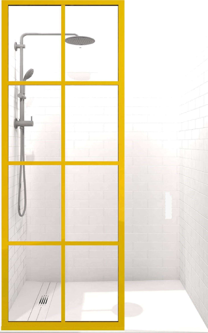 Coastal Shower Doors Gridscape GS1 Colorize Shower Screen in Citrine with Clear Glass