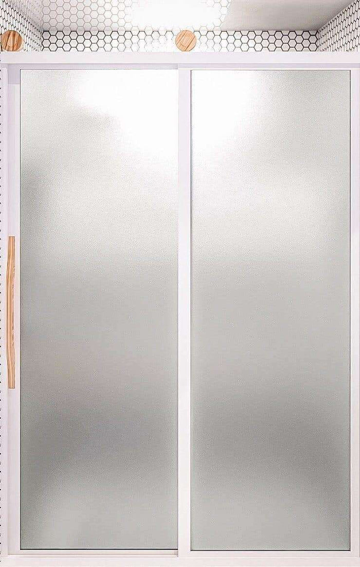 Gridscape GS3 Eclipse Barn Door Style Sliding Shower Door in White With SatinDeco Glass