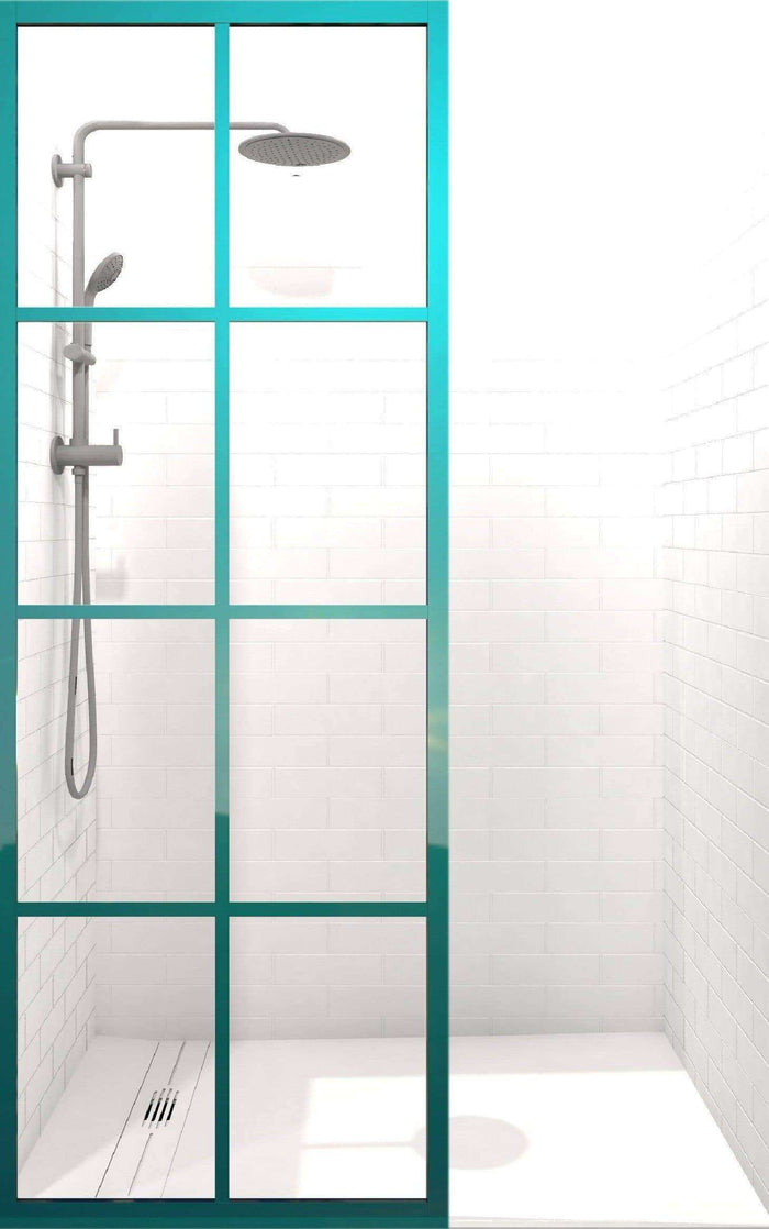 Coastal Shower Doors Gridscape GS1 Colorize Shower Screen in Keppel with Clear Glass