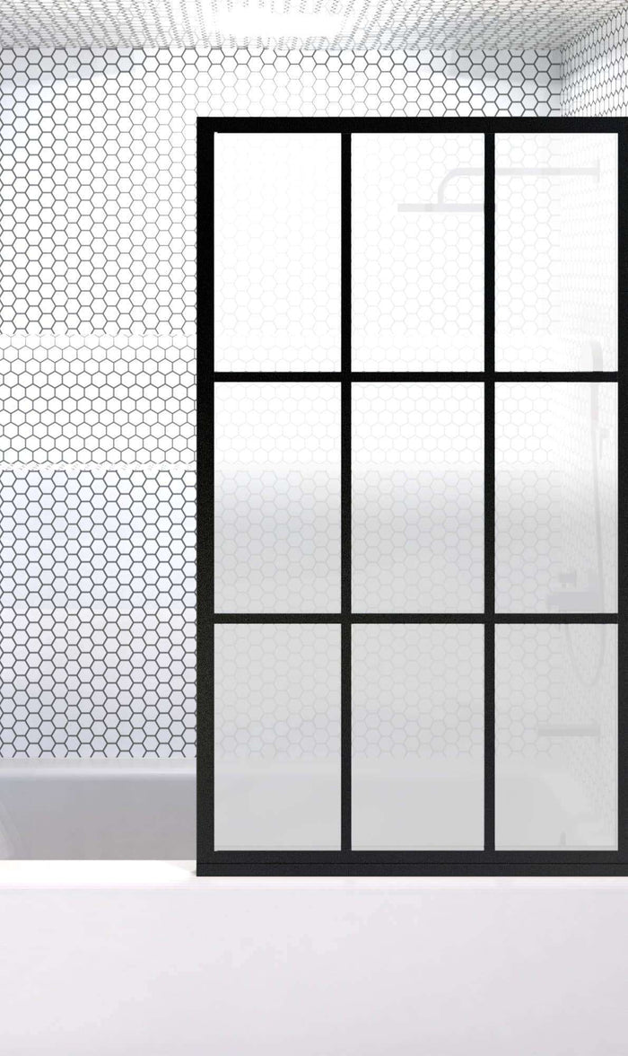 Gridscape Fixed Panel Shower Screen For Tub in Matte Black Metal Finish and SatinDeco Frosted Glass