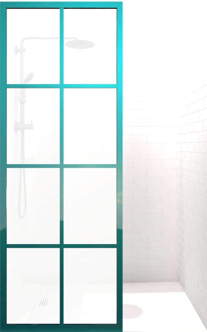 Gridscape Steel Framed Grid Pattern Shower Door in Keppel finish with SatinDeco Glass