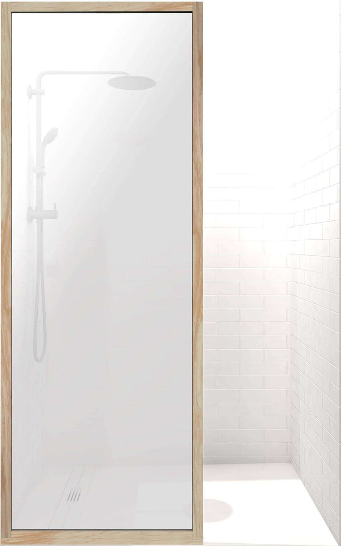 Gridscape GS3 Insiders Shower Screen in Berk-Oak with SatinDeco Glass