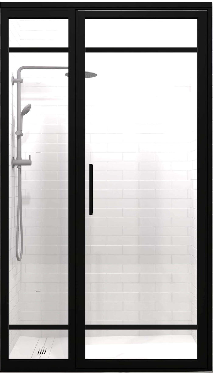 Gridscape GS2-2 Hinged Door and Panel in Black Finish and Clear Glass