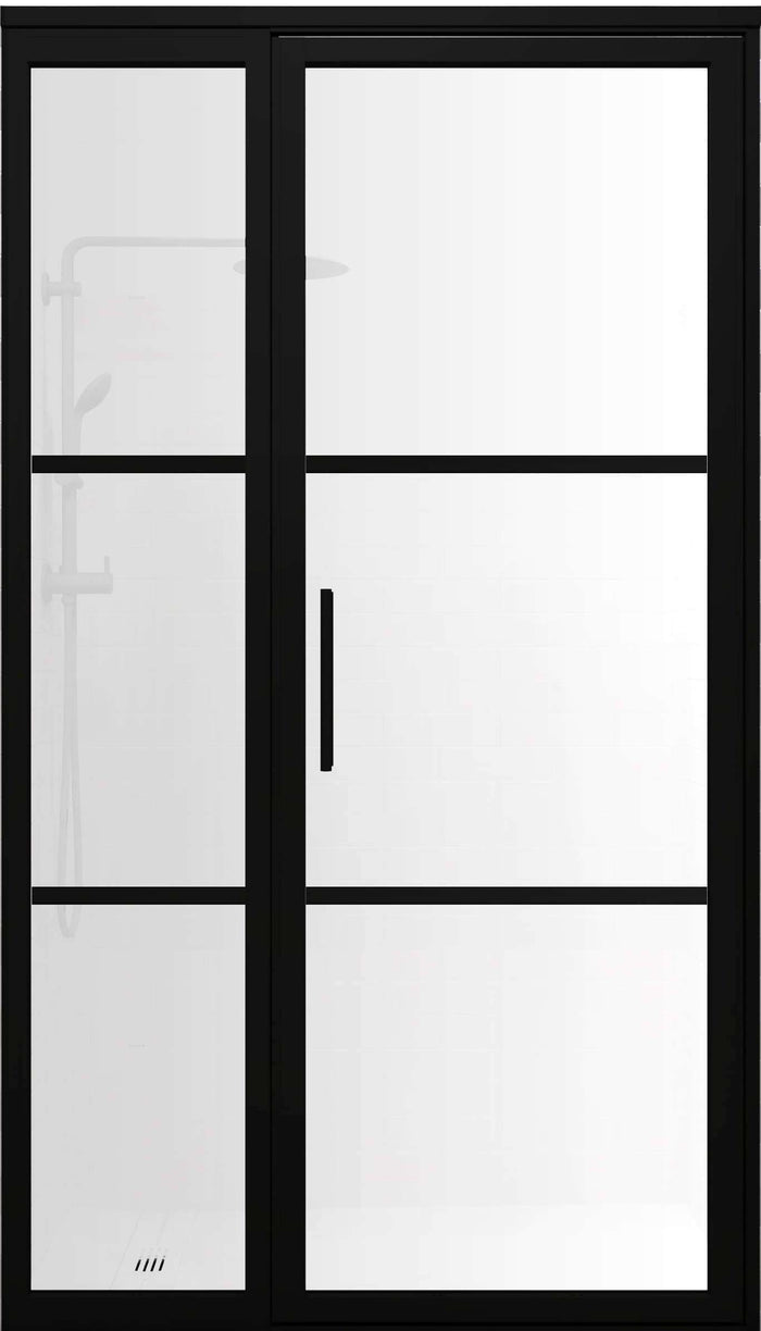 Gridscape GS2-2.1 Hinged Door and Panel in Black Finish and SatinDeco Glass