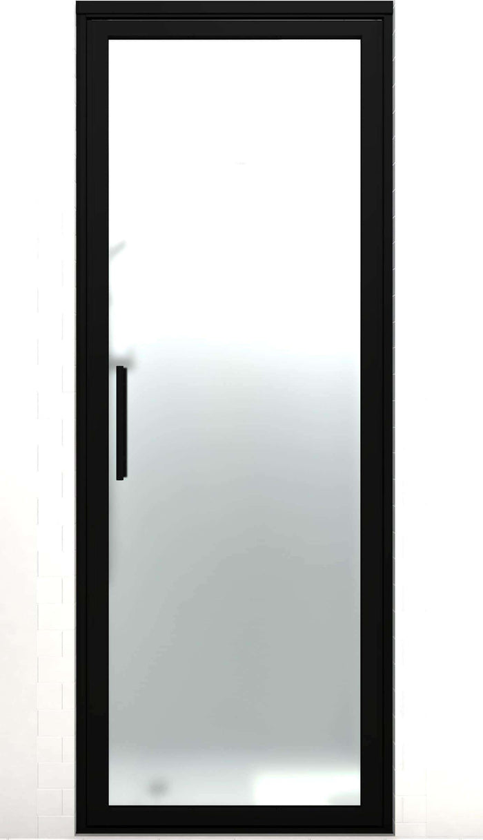 Black Frame Hinge Shower Door | Industrial Style | Gridscape GS3 | SatinDeco Frosted Glass