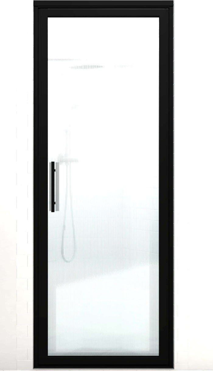 Black Frame Hinge Shower Door | Industrial Style | Gridscape GS3 | RibCord Patterned Glass