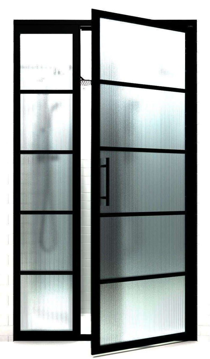 "Black ""Steel"" Frame Shower Doors with GS2 Grid Pattern 
