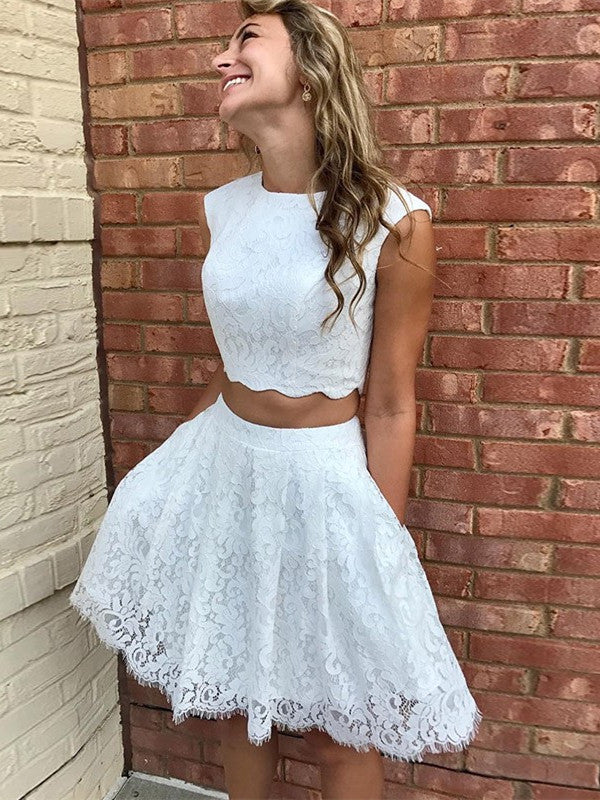 Two-pieces Fulle Lace Sleeveless Homecoming Dresses With Pockets, HD0497