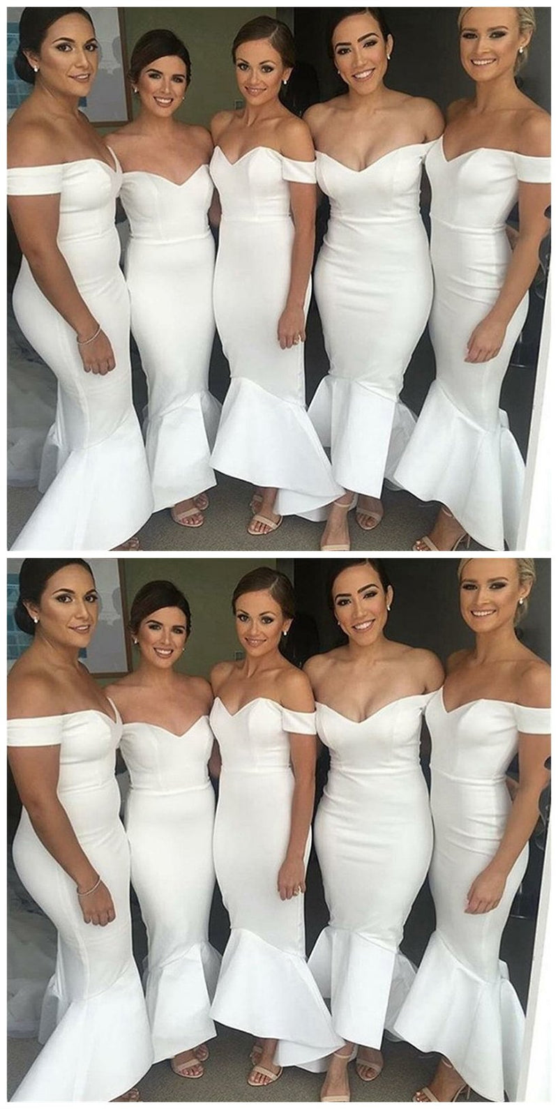 White Mermaid Off-Shoulder Backless Wedding Party Dresses,Long Bridesmaid Dress, BD0479