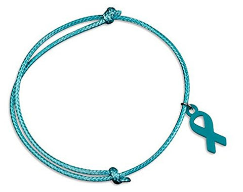 Ovarian Cancer Awareness Teal Ribbon Adjustable Cord Bracelet