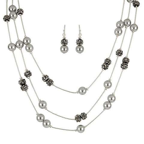 Roman Grey Pearlescent Illusion Necklace Set